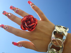 my hand in the beautiful sky (Pinky Anela) Tags: red rose japan gold tokyo losangeles nail bangle nailart