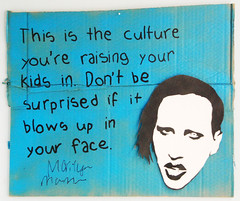 Favourite Celebrity Quote no.147 - Marilyn Manson (id-iom) Tags: idiom brixton london stencil graffiti vandalism vandal paint street art artist cool streetdrop cardboard celebrity quote head signature autograph marilyn manson culture kids blow face urban uk england