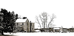 Farm House On The River (Baab1) Tags: winter sky blackandwhite white snow monochrome sepia shadows illustrations maryland farms chimneys oldhouses blizzards southernmaryland farmhouses princefrederickmaryland calvertcountymaryland mywinners abigfave platinumphoto citrit