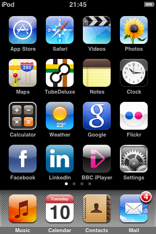 Capture of my iPod touch screen