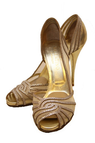 Valentino Gold Evening Heels