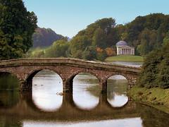 reflections (P.J.W) Tags: bridge autumn trees water leaves gardens landscape seasons lakes changing stourhead pjw
