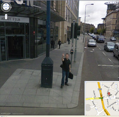 Man giving Google Street View the salute in Edinburgh