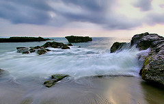 At times, we all search for meaning in our lives, often in vain. Perhaps the answer is not to find meaning, but to give it? (tropicaLiving - Jessy Eykendorp) Tags: longexposure light sea bali seascape beach nature indonesia coast rocks shoreline wave canggu efs1022mmf3545usm canoneos50d tropicaliving jessyce