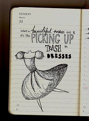 b e a u t i f u l m e s s (zeniale) Tags: school art moleskine beautiful illustration trash lyrics artwork mess drawing diary bored drawings class dresses doodles sketches 2009 planner moleskineplanner pickinguptrashindresses jasonmrazbeautifulmesslyrics drewthisduringmathclass andrecess