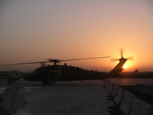 Taji Sunrise, while waiting for a Black Hawk ride