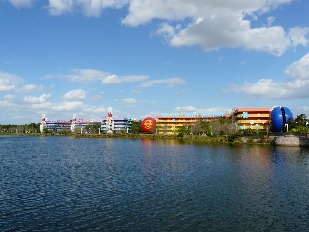 View of the Pop Century Resort over the lake