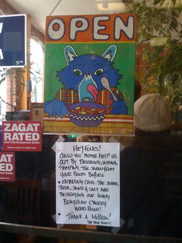 OPEN sign at Blue Fox cafe in Victoria