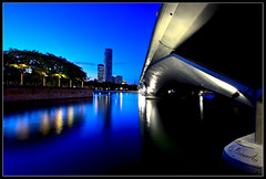 Stop Wasting Your Life! (OceanAir55) Tags: city bridge reflection night river landscape hotel singapore cityscape dusk esplanade blueribbonwinner merlionpark supershot anawesomeshot swisotel oceanair55
