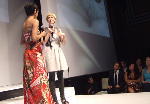 designer Sonja den Elzen does an on stage interview