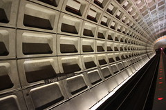 Metro illusion (JTRoboPhoto) Tags: red geometric train subway washingtondc vanishingpoint dc washington angle metro bottom foggy columbia illusion trainstation dots tilted trainstop metrostation reddots foggybottom linescurves stationtrain metrofoggy