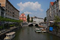 Triple Bridge (northb2) Tags: church river boat slovenia ljubljana franciscan laibach ljubljanica slovenien ljubljanicariver slovenije