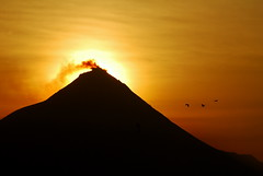 The sun rising over Gunung Merapi (pranav_seth) Tags: sea birds sunrise indonesia volcano earlymorning halo yogyakarta jogjakarta gunung borobudur merapi activevolcano mountmerapi gunungmerapi 1on1sunrisesunsetsphotooftheweek smokingmerapi 1on1sunrisesunsetsphotooftheweekjune2009