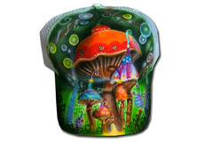 Airbrush Cap Psychodelic Mushrooms (cokyone) Tags: portrait hat graffiti stencil comic mesh painted caps cartoon cap spongebob pilze truckercap tupac airbrush mtzen scarface fusball unikat derpate