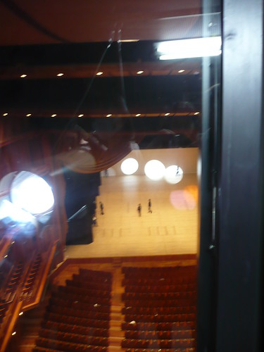 Looking down from the lighting gallery