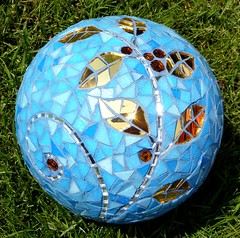 Gold leaf ball (stiglice - Judit) Tags: blue glass ball globe mosaic orb mirrored gazingball gardenglobe shpere vitreousglass mosaicsphere mosaicglobe mosaicball mosaicorb