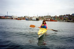 940703 Sue Paddles Her Own Canoe (rona.h) Tags: july arctic greenland sue 1994 cloudnine aasiaat ronah vancouver27 bowman57