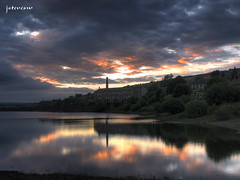 8589 Leeming sunset (Steve Swis) Tags: uk sunset england reflection mill water look television landscape tv europe bradford britain yorkshire north reservoir oxenhope leeming looknorth bronteway brontecountry canong9 jstevesw paultheweatherman