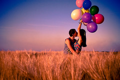 love is a place (bagirka's twilight) Tags: blue sunset love nature colors field balloons kiss couple dof emotion wheat round feeling wonderland pleasure happyness topsense