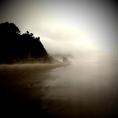 Oregon, from my iPhone's perspective. (Cody Bralts) Tags: fog oregon portland rocks pacific peach iphone