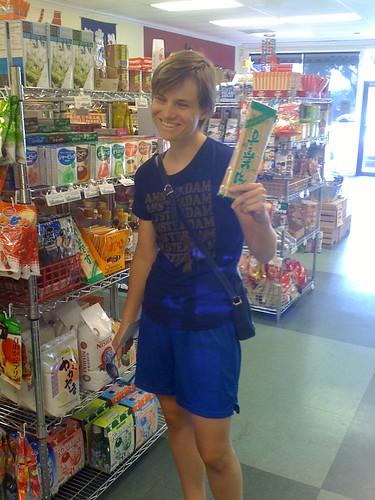 purchasing bamboo mats at Asahi imports