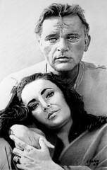 Taylor and Burton (pbradyart) Tags: portrait bw art pencil movie star sketch artwork drawing pencildrawing richardburton elizabethtaylor filmstardrawing