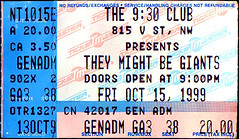 19991015 - They Might Be Giants - ticket stub - 930 Club