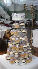 Lilac & White Hydrangea Cupcake Tower (ConsumedbyCake) Tags: wedding white tower college cakes cookies cake fruit silver hearts sussex cupcakes worthing brighton blossoms lilac cupcake cutting hydrangea venue hydrangeas placecard consumedbycake