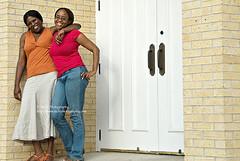 by the church doors (simis) Tags: pink blue portrait orange brick me doors d smiles skirt jeans braids handles bestfriends fromarchives