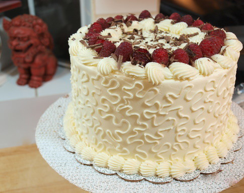 Raspberry and Chocolate Ganache Cake with White Chocolate Buttercream