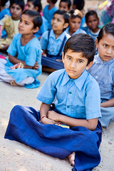 India (David Davis Photoproductions) Tags: blue girls india boys students kids youth rural asian outside education uniform asia child delhi indian group innocent learning uniforms schoolchildren hindu centralasia learn literacy thirdworld gradeschool ethic