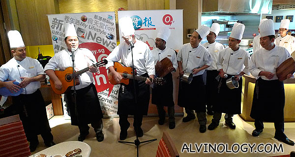 Singing chefs serenading the crowd