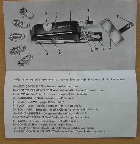 Buttonhole attachment manual page 1