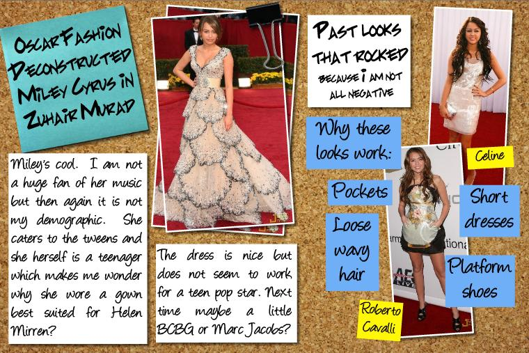 miley cyrus oscar fashion 2009