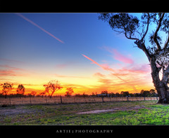 The Flaming Trees :: HDR (:: Artie | Photography ::) Tags: trees sunset red sky field clouds photoshop canon cs2 farm tripod fences australia wideangle newsouthwales grasses poles 1020mm flaming hdr artie waggawagga 3xp sigmalens photomatix tonemapping tonemap 400d rebelxti wtfiswaggawaggalol itslikeanaboriginalloincloth