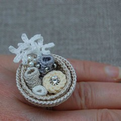 White and cream crochet ring (ELINtm) Tags: crochet ring coral crocheted elin elinthomas etsy freeform jewellery fiberjewelry white ecru handmade handcrafted pretty delicate feminine adjustablering