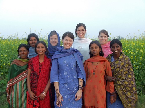 us girls and the local young women went on a walk in their fields before the ceremonies began