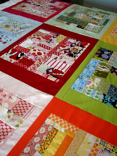 boxed scraps quilt in progress