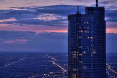 Trump International Hotel and Tower Chicago (Kevin Dickert) Tags: city nightphotography sunset sky urban chicago building glass skyline architecture night clouds facade skyscraper grid cityscape loop dusk fromabove citylights canon5d bluehour trumptower lookingdown trump hdr highdynamicrange downtownchicago nightfall curtainwall urbanity adriansmith blueperiod supertall trumpinternationalhotelandtowerchicago abovestreetlevel canonef100400mmf4556lis iamhydrogen kevindickert smithgill citygrids