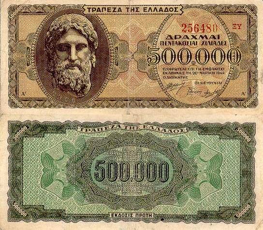 500000 Drachiem Grécko 1944