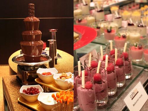 Chocolate fondue and shooter desserts