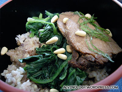 Rice with pork slices