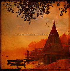 Wrapped in an Orange Veil (designldg) Tags: travel winter sunset orange india reflection heritage water mystery architecture temple gold evening amber colours peace veil dream atmosphere panasonic silence soul varanasi imagination shanti ganga ganges ghats benaras uttarpradesh  indiasong infinestyle dmcfz18 designldg
