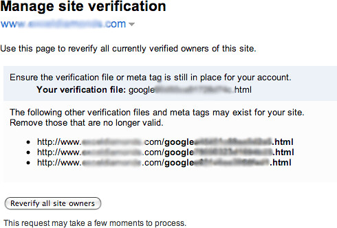 google verification webmasters