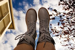 96:365 - boots (cavale) Tags: blue sky selfportrait tree feet me window up clouds self boots laces docmartens cavale project365