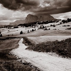 Into The Clouds (Martin Gommel) Tags: italien bw italy white black nature field rain way landscape landscapes tirol open martin cloudy walk urlaub familie go natur rainy elena ausflug through alpen ich ways regen sdtirol schlern kwerfeldein martingommelde