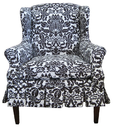 Draper Damask slipcovered wing chair