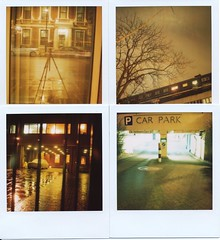 Late Night Blues with Amber Light Pollution (Lady Vervaine) Tags: street city uk longexposure winter light england urban london film electric night polaroid sx70 four amber glare britain pollution 600 electricity multiple nofilter lightpollution polaroidsx70 londonist quadriptych