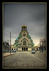 Sofia - Alexander Nevski Cathedral (Mike G. K.) Tags: road street city sky church architecture clouds gold cathedral sofia pavement center bulgaria domes hdr alexandernevski sofiya 3exp  sofiyagrad cobblesstone