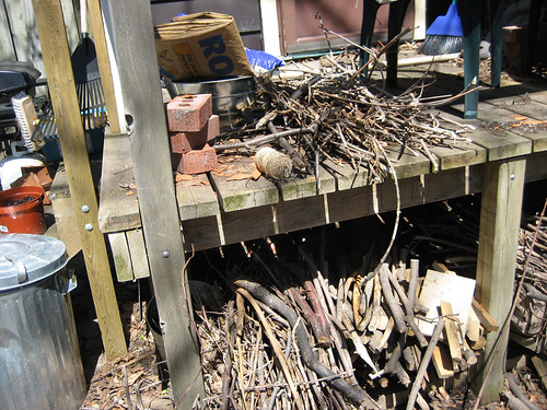 This is the back porch.  Itll be nicer soon, I promise.  We dont have enough space for all that wood.  Heh.